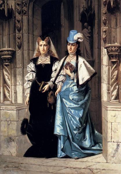 Two Elegant Ladies Leaving A Church